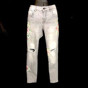 Zara Basic Denim Floral Painted Skinny Jeans Sz 8